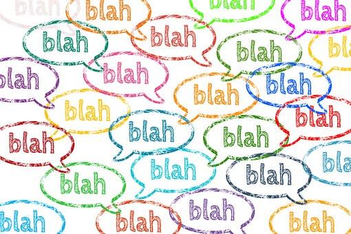 Muchos bocadillos con la palabra Blah en su interior